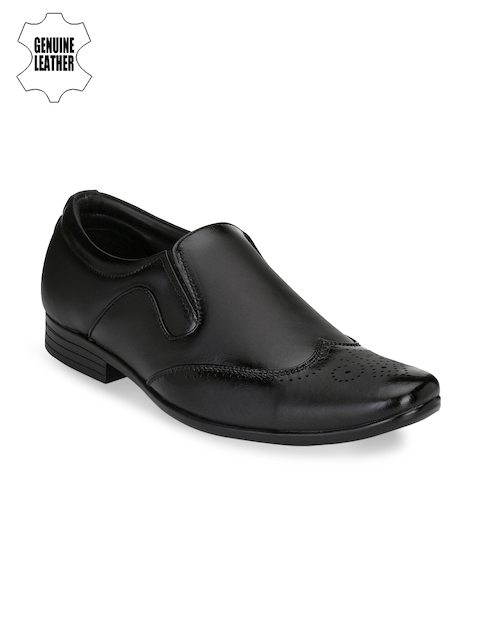 Prolific Men Black Formal Leather Slip-Ons