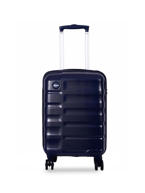 VIP Unisex Navy-Blue Textured Cabin Trolley Suitcase