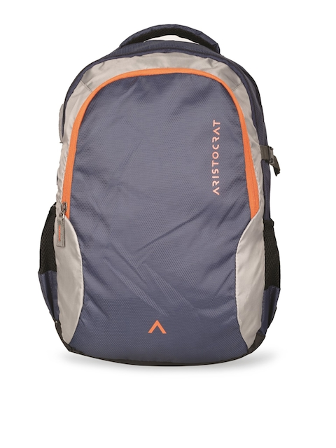 Aristocrat Unisex Blue & Grey Colourblocked Backpack