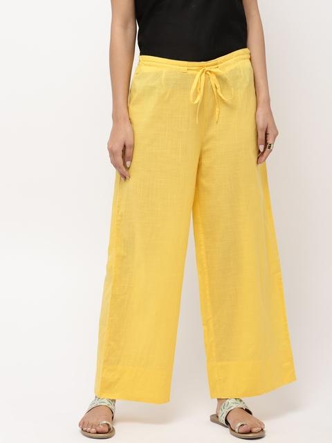 Fabindia Women Yellow Wide Leg Solid Palazzos