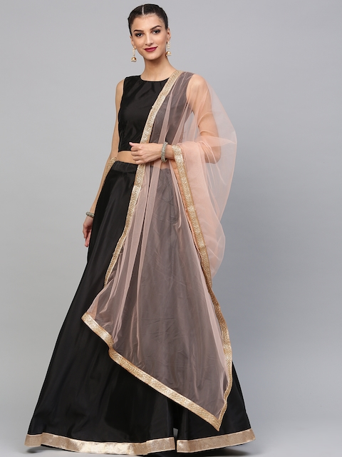 4f8ae09e22 60%off Inddus Black Solid Semi-Stitched Lehenga   Unstitched Blouse with  Dupatta