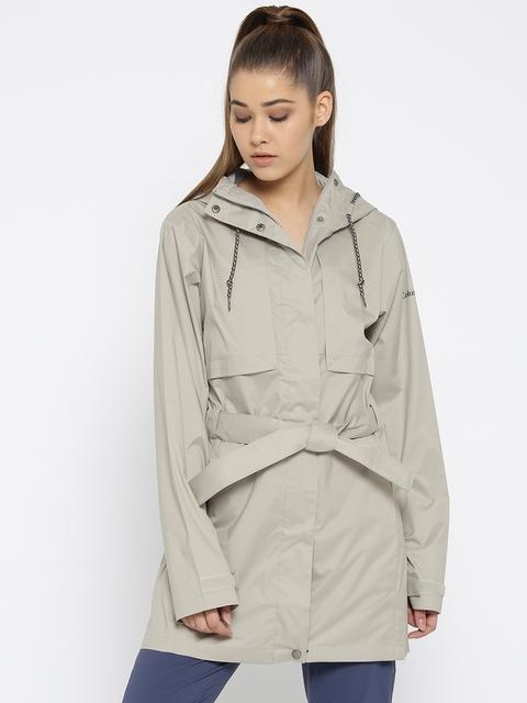 Columbia Women Grey Self-Checked Pardon My Trench Waterproof Breathable Rain Jacket