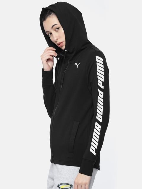 Puma Women Black Regular Fit Solid Sports DRYCELL Regular Fit Hooded Sweatshirt