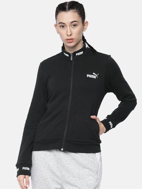 Puma Women Black Regular Fit Solid Amplified Track Front-Open Sweatshirt