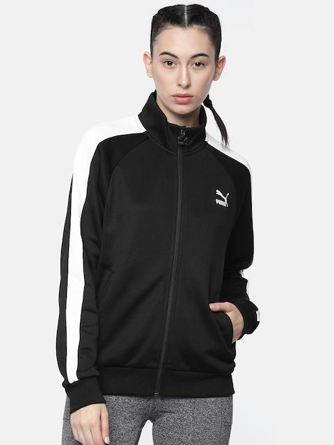 Puma Women Black & White Solid Classics T7 Track PT Sweatshirt
