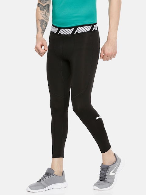 Puma Men Black Solid Tight Fit Energy Tech dryCELL Tights