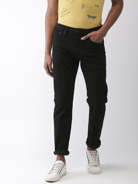 Levis Men Black Taper Regular Fit Mid-Rise Clean Look Jeans 502
