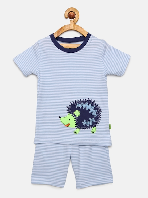 mackly Boys Blue Striped Night suit