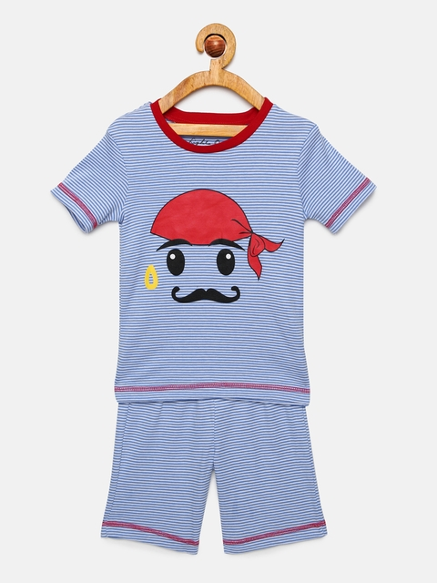 mackly Boys Blue Printed Night suit