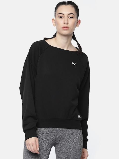 Puma Women Black Solid Fusion Crew Sweatshirt