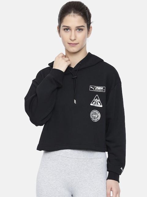 Puma Women Black Solid TZ Hooded Sweatshirt