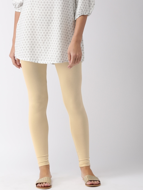 Go Colors Women Cream-Coloured Solid Ankle-Length Leggings