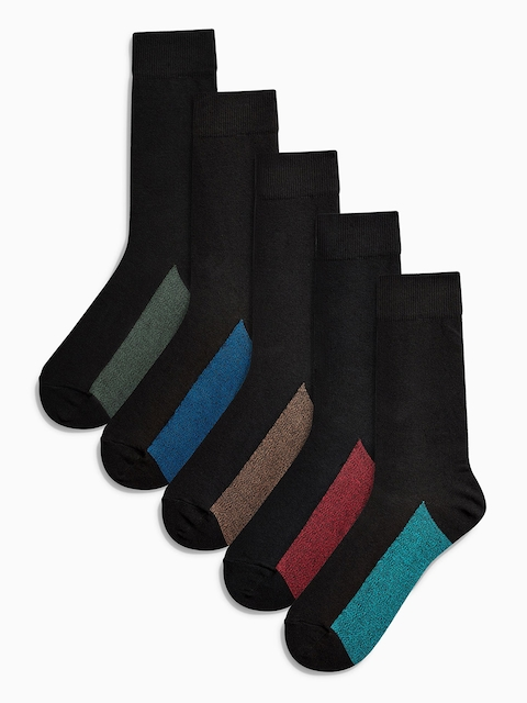 next Men Pack of 5 Black Colourblocked Calf Length Socks