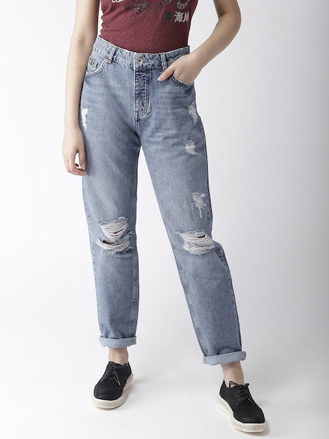 Superdry Women Blue Boyfriend Fit Mid-Rise Highly Distressed Jeans