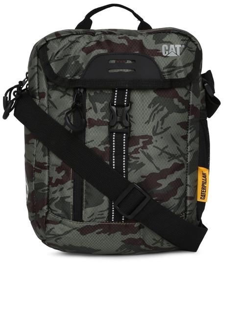 CAT Unisex Olive Green & Brown Kilimanjaro Camouflage Printed Messenger Bag