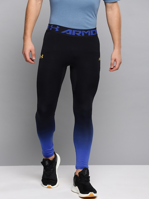 5857add18af597 UNDER ARMOUR Men Black & Blue Curry Seamless Ombre Dyed Cropped Basketball  Tights