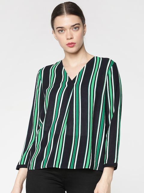 ONLY Women Green & Black Striped Top