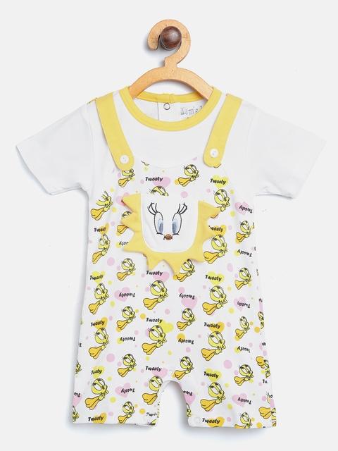 Moms Love Girls White & Yellow Tweety Print Rompers