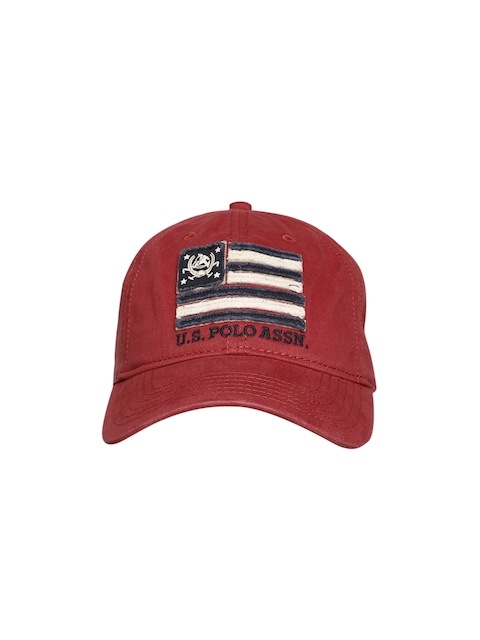 U.S. Polo Assn. Men Maroon Printed Baseball Cap