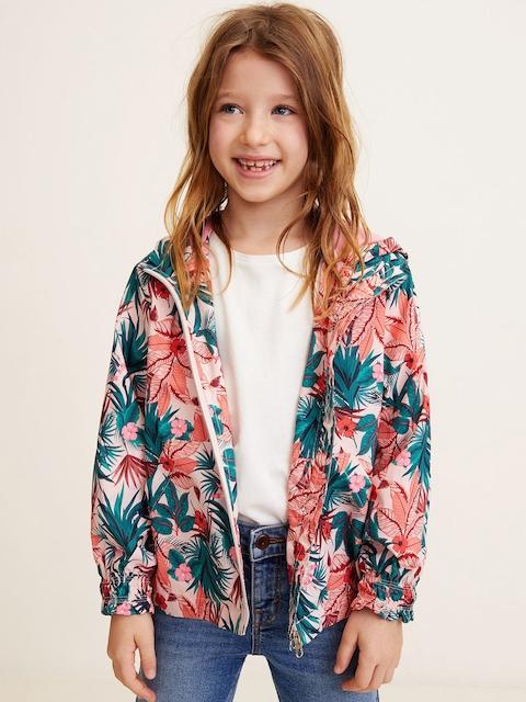 Mango Kids Girls Peach-Coloured & Green Printed Hooded Rain Jacket