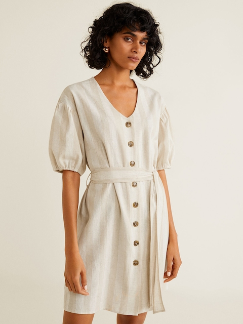 MANGO Women Beige Self-Striped A-Line Dress