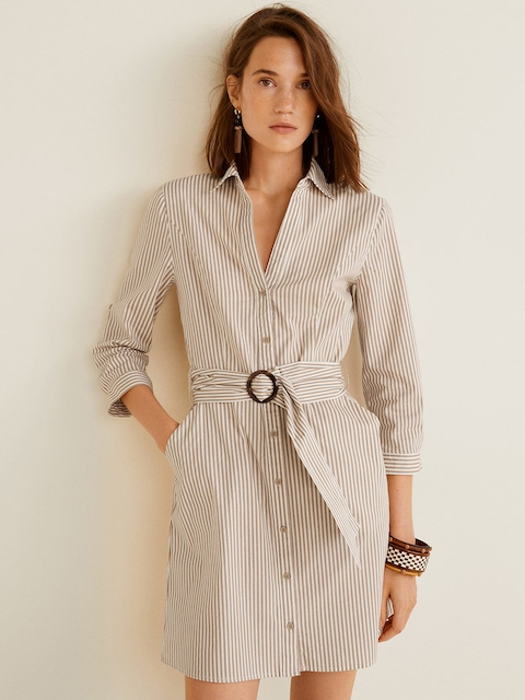 MANGO Women Beige & White Striped Shirt Dress