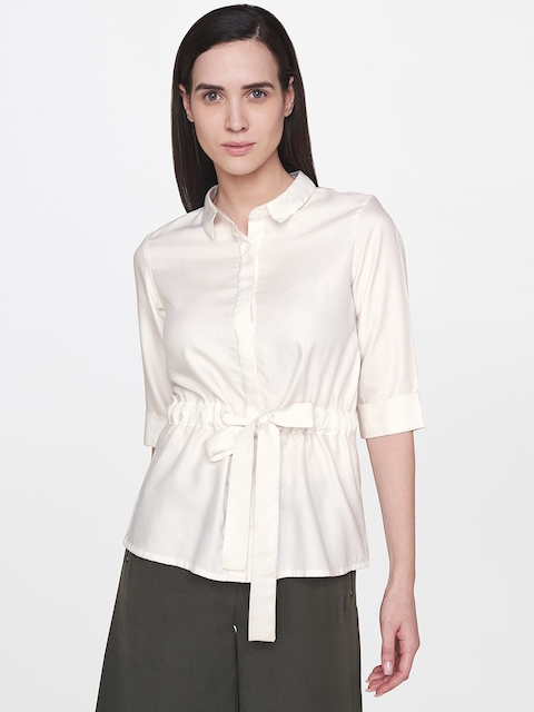 AND Women Off-White Regular Fit Solid Casual Shirt