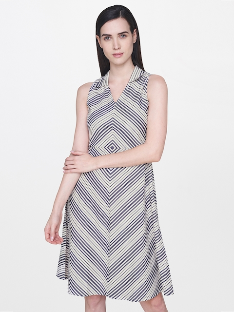 AND Women Beige & Navy Striped A-Line Dress