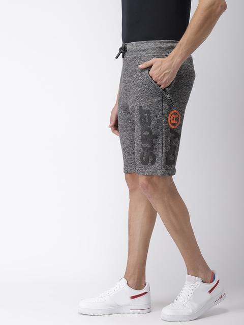 Superdry Men Grey Melange Solid Regular Fit Sports Shorts