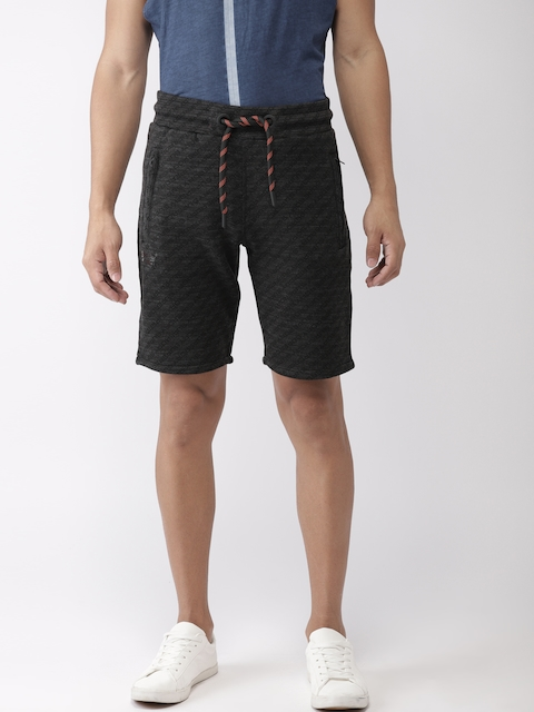 Superdry Men Charcoal Grey Printed Regular Fit Shorts