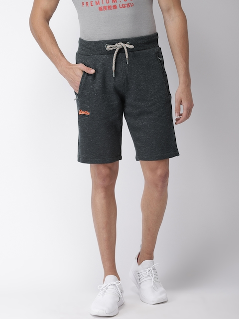 Superdry Men Charcoal Grey Solid Regular Fit Regular Shorts