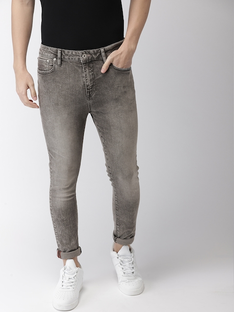 Superdry Men Grey Skinny Fit Mid-Rise Clean Look Stretchable Jeans