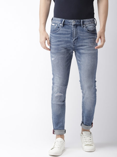 Superdry Men Blue Tyler Slim Fit Mid-Rise Mildly Distressed Stretchable Jeans