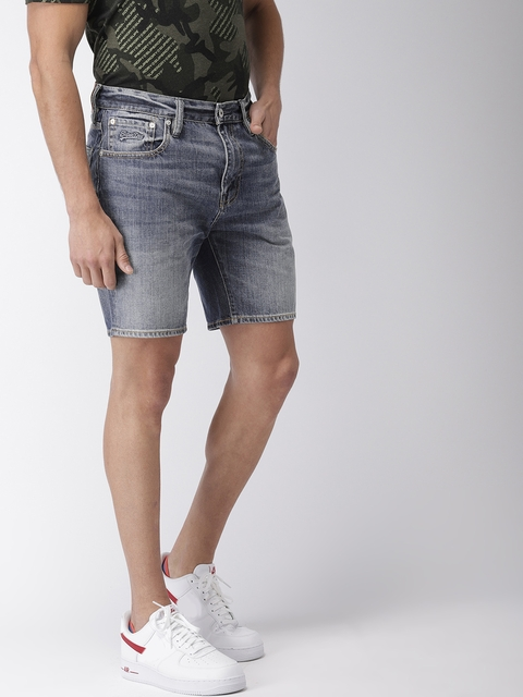 Superdry Men Blue Washed Tapered Fit Denim Shorts