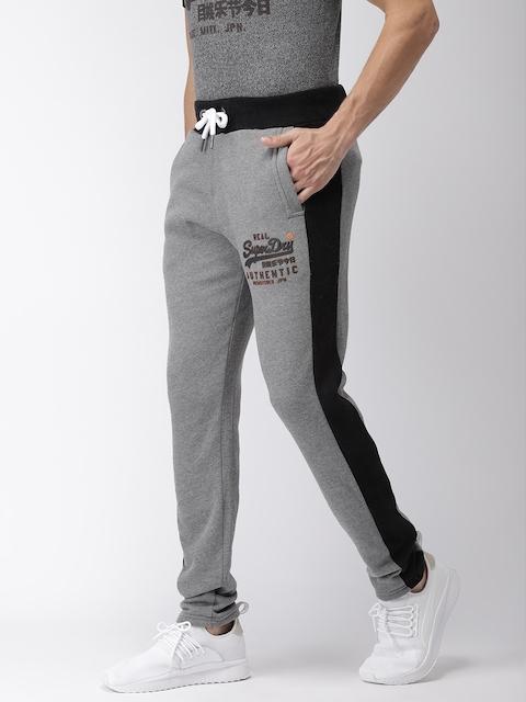 Superdry Men Grey Melange & Black Colourblocked Track Pants