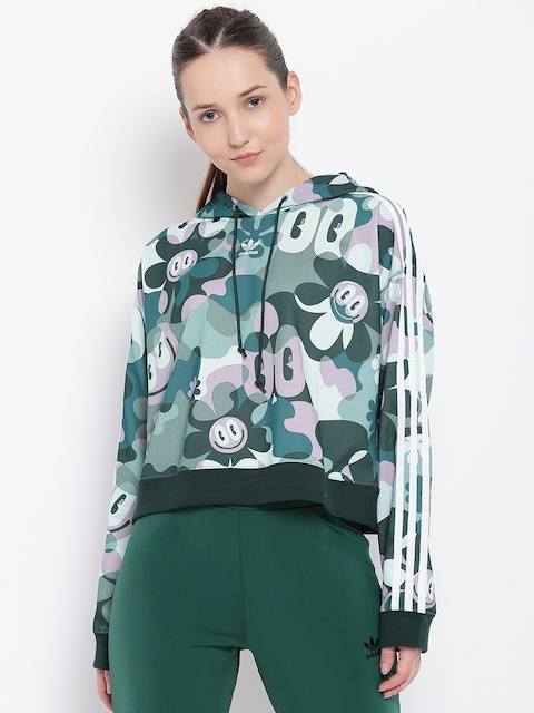 ADIDAS Originals Women Multicoloured CROPPED HOODIE Track Jacket