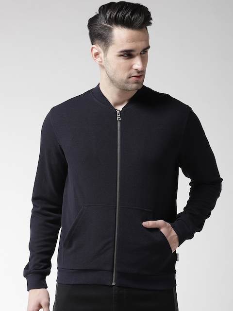 GAS Men Navy Blue Solid Sweatshirt