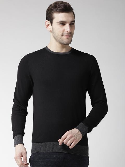 GAS Men Black Solid Pullover