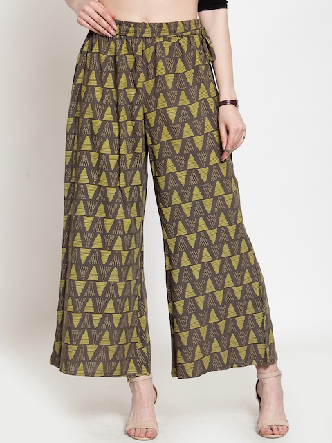 Varanga Women Grey & Green Printed Straight Palazzos