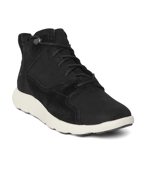 Timberland Men Black FlyRoam Nubuck Leather Hiker Boots