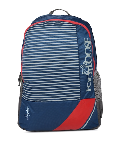 Skybags Unisex Blue & Grey Striped Backpack
