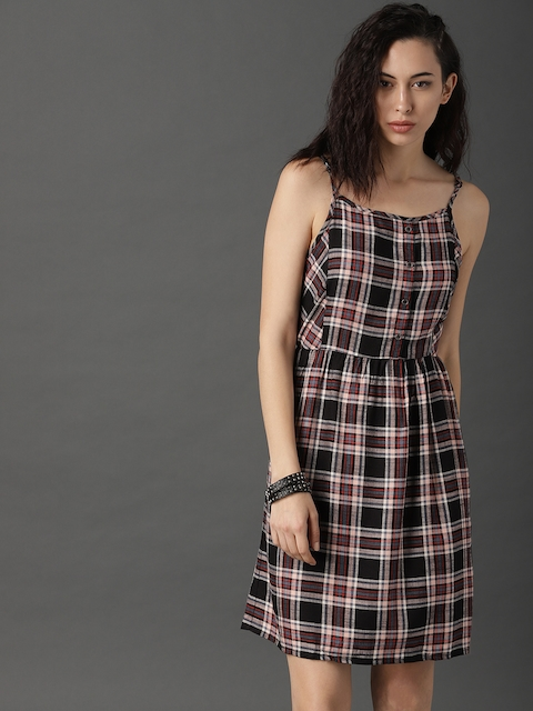 Roadster Women Black & Red Checked A-Line Dress