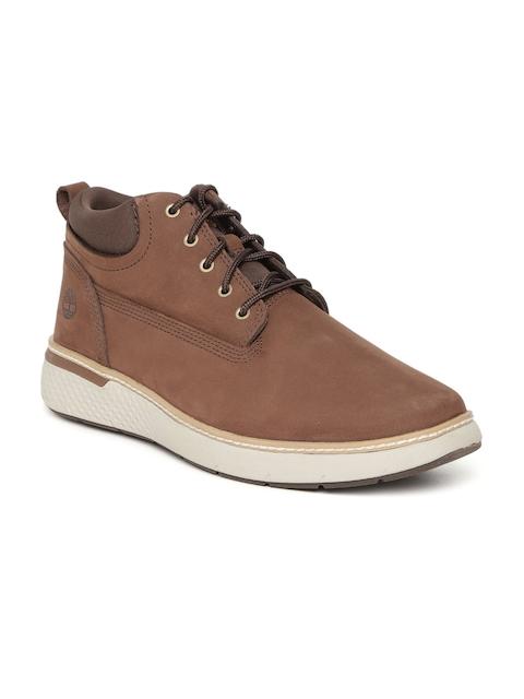 Timberland Men Tan Solid CROSSMARK PT CHKA Leather Mid-Top Flat Boots