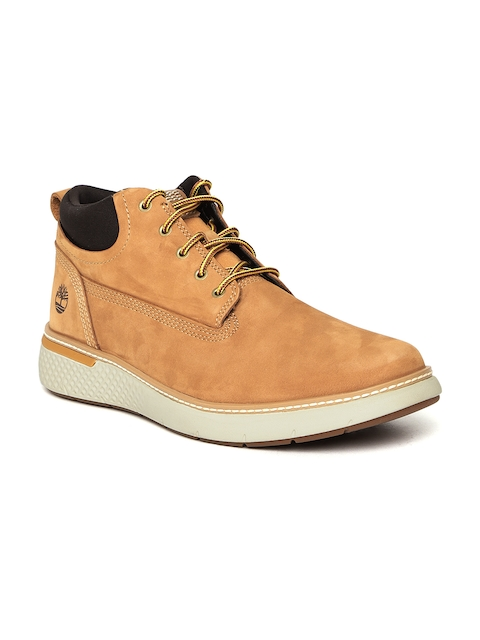 Timberland Men Tan Brown Solid Leather CROSSMARK PT Mid-Top Flat Boots