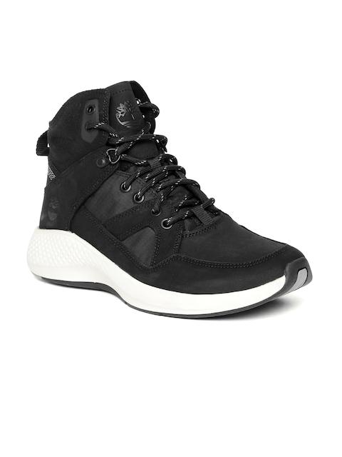 Timberland Men Black Solid Leather FLYROAM GO Hiker Flat Boots