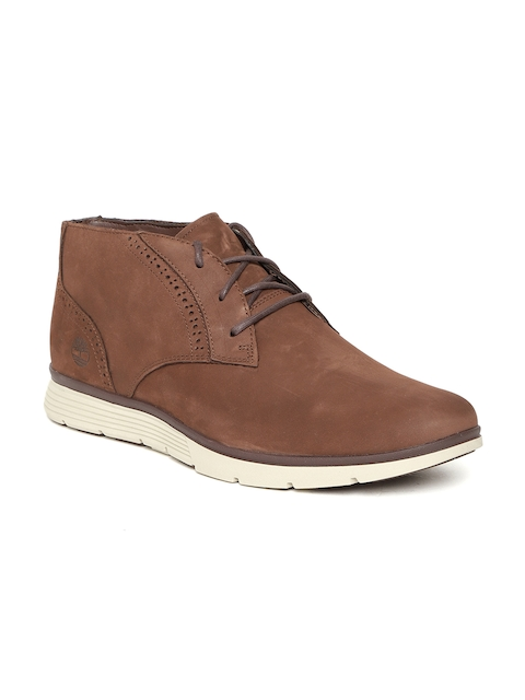 Timberland Men Tan Brown Solid FRNKLIN PRK PT Leather Mid-Top Flat Boots