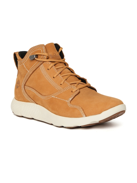 Timberland Men Tan Solid FLYROAM Leather Mid-Top Flat Boots