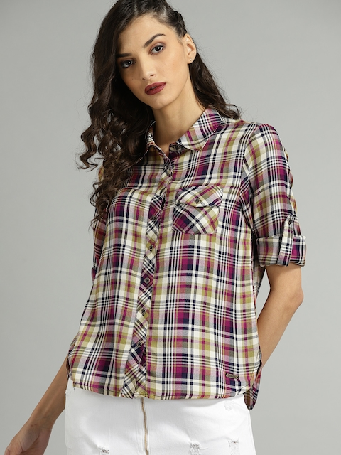 Roadster Women Beige & Pink Regular Fit Checked Casual Shirt