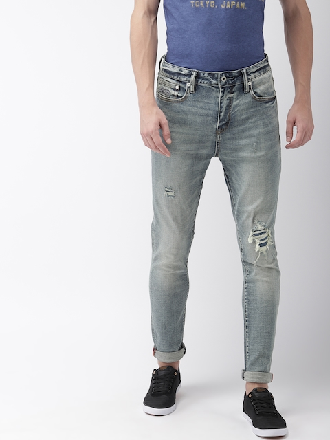 Superdry Men Blue Travis Skinny Fit Mid-Rise Low Distressed Stretchable Jeans