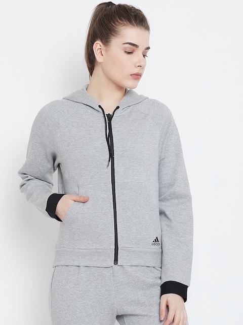 ADIDAS Women Grey Melange Solid Must Haves Hooded Sweatshirt